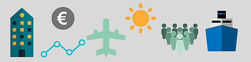 Banner mit Symbolen: Haus, Euro-Zeichen, Netzwerk, Flugzeug, Sonne, Menschen, Schiff