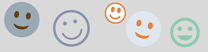 Banner mit Symbolen: fünf verschiedene lachende Gesichter (Smileys)