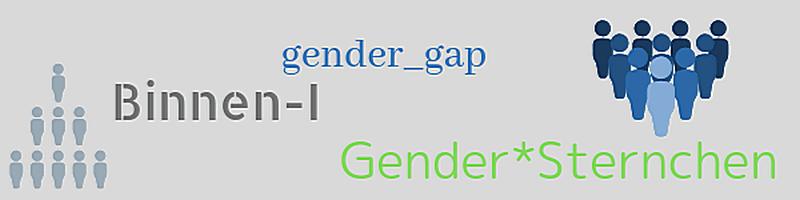 Banner mit Wörtern: Binnen-I, Gender-Gap, Gender-Sternchen und Symbolen für Gruppe von Menschen