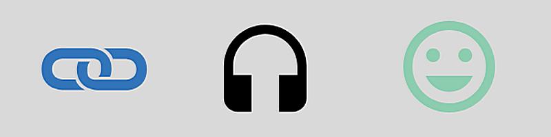 Banner mit Symbolen: Hyperlink, Kopfhörer und lachendes Gesicht (Smiley)