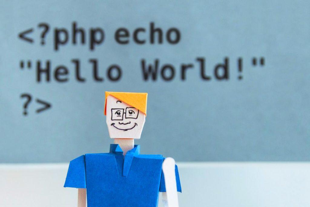 """Grafik mit Person und Text """"php echo Hello World"""""""