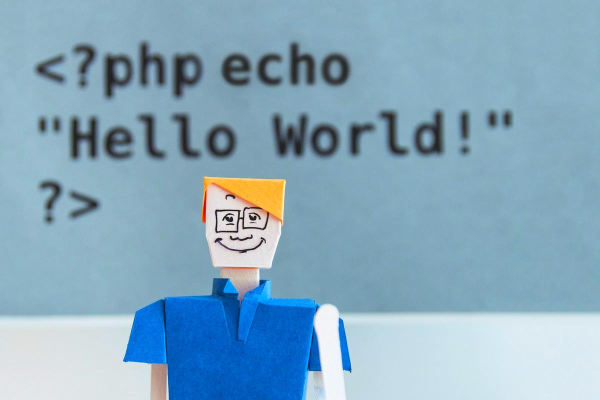 "Grafik mit Person und Text ""php echo Hello World"""
