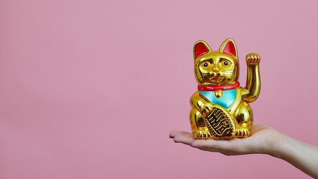 Winkende Katze, die auf einer Hand sitzt.