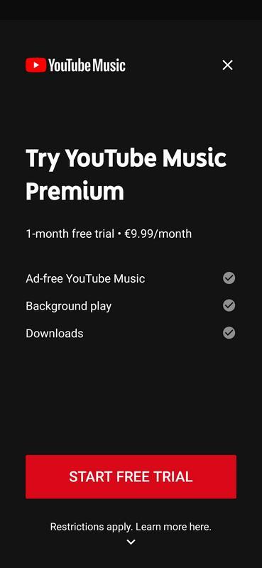 Screenshot der App YouTube Music