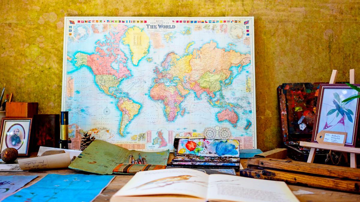 Foto mit einer Karte der Welt