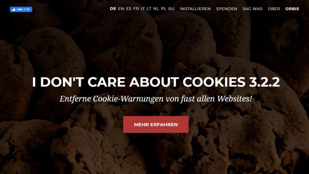 """Screenshot von der Seite """" I don't care about cookies"""""""